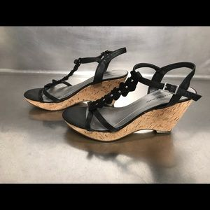 Bandolino Black Wedge Sandals - Size 8.5